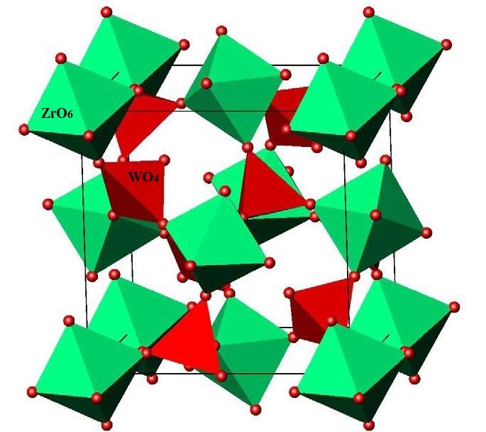 Рис.1. Схема структуры вольфрамата циркония ZrW2O8 с жестко связанными между собой октаэдрами ZrO6 и тетраэдрами WO4